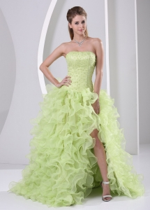 High Slit Prom Dress Ruffled Yellow Green