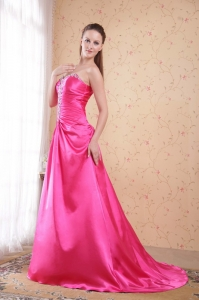 Hot Pink Column Sweetheart Beading Prom Dress