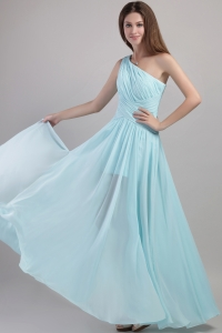Light Blue One Shoulder Ankle-length Prom Dress