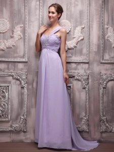 Lilac Evening Dress Empire One Shoulder