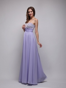 Lilac Empire Strapless Beading Prom Dress