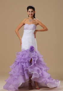 Mermaid Ruffles White and Purple Evening Dress