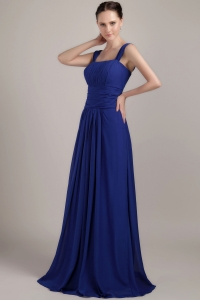 Navy Blue Empire Square Ruch Bridesmaid Dress