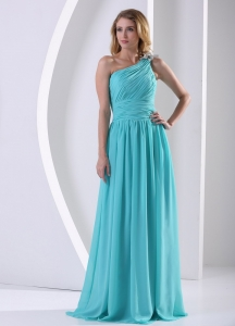 Bridesmaid Dress One Shoulder Ruched Aque Blue