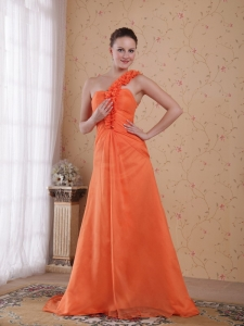 Orange Empire One Shoulder Prom Dress
