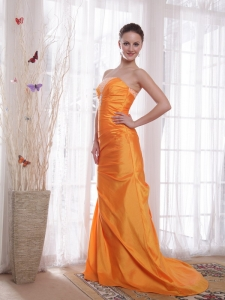 Orange Mermaid Taffeta Beading Prom Dress