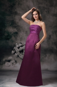 Purple Column Strapless Taffeta Beading Prom Dress