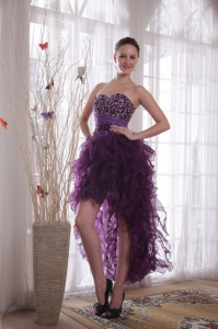 Cocktail Dress High-low Organza Beading Purple