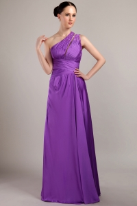 Purple Empire One Shoulder Beading Prom Dress