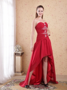 Red Sweetheart High-low Chiffon Beading Prom Dress