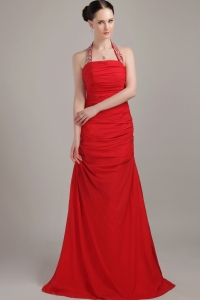 Red Halter Floor-length Chiffon Ruch Prom Dress