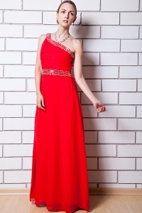 Red Empire One Shoulder Chiffon Beading Prom Dress