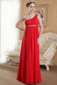 Red Empire One Shoulder Beading Evening Dress