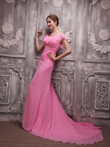 Rose Pink Empire V-neck Beading Evening Dress