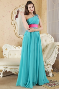 Teal Empire One Shoulder Ruch Prom Dress