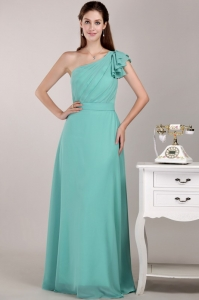Turquoise One Shoulder Ruch Prom Dress