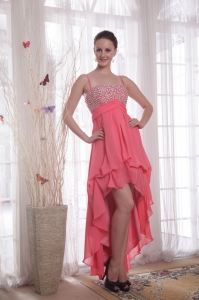 Watermelon Prom Dress Straps High-low Beading