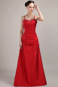 Wine Red Spaghetti Straps Beading Prom Dress