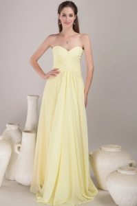 Yellow Empire Sweetheart Neck Pleats Bridesmaid Dress