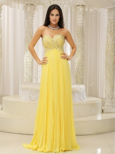 Yellow Sweetheart and Pleat Prom Gown Dress