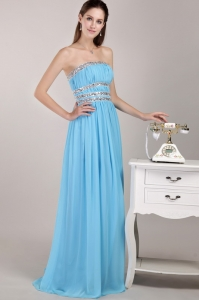 Party Dress Aqua Blue Strapless Chiffon Beading