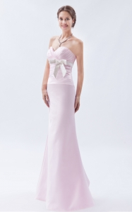 Baby Pink Mermaid Sweetheart Bow Prom Dress