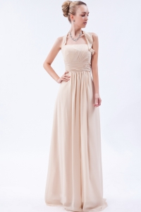 Champagne Empire Halter Ruch Prom Dress
