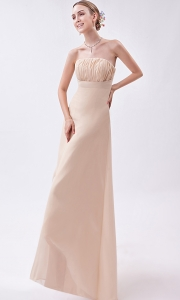 Champagne Strapless High-low Ruch Prom Dress
