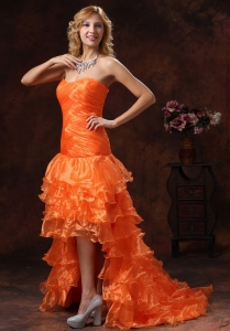 High-low Ruched Bodice Prom Dress Orange Red