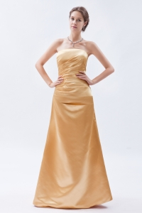 Prom Dress Gold Strapless Floor-length Ruch