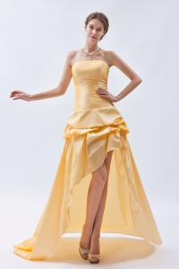 Gold Strapless High-low Pick-ups Prom Dress