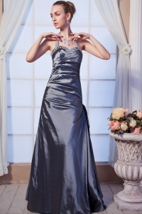 Gray Column Halter Taffeta Beading Prom Dress