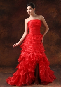 High Slit Red Ruffled Layers Ruched Prom Dress