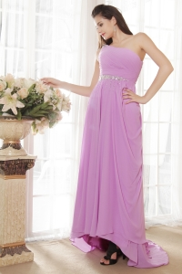 Lavender Empire One Shoulder Ruch Prom Dress