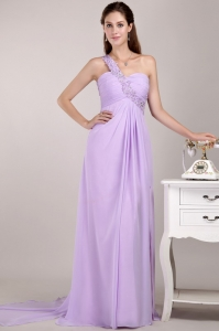 Lavender Empire One Shoulder Prom Gown