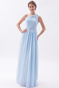 Light Blue One Shoulder Prom Dress