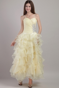 Light Yellow Straps Ankle-length Evening Dress