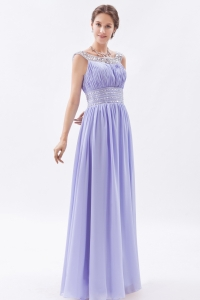 Lilac Scoop Chiffon Beading Prom Dress