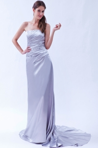 Prom Dress Lilac Beading Elastic Woven Beading