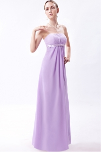 Prom Dress Lilac Empire Strapless Embroidery