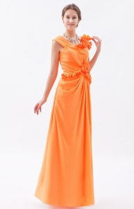 Organge Asymmetrical Hand Made Flowers Prom Dress
