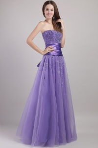 Party Dress Purple Strapless Tulle Beading