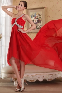 Red Prom Dress Empire One Shoulder Beading