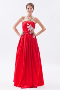 Red Prom Dress Strapless Taffeta Appliques