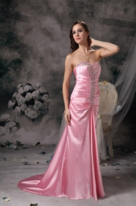 Rose Pink Empire Sweetheart Evening Dress