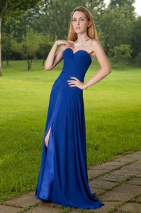Royal Blue Empire Brush Train Ruch Prom Dress