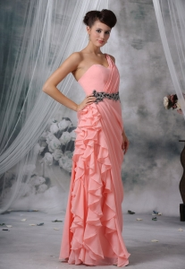 Beaded One Shoulder Light Pink Evening Dress