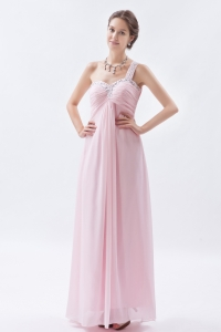 Baby Pink One Shoulder Chiffon Prom Dress Beading
