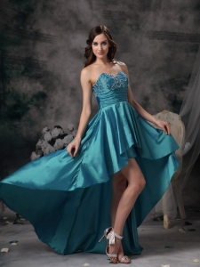 Teal A-line Sweetheart High-low Homecoming Dress