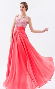 Watermelon Empire Straps Beading Prom Dress
